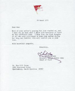 GENERAL WILLIAM C. WESTMORELAND - TYPED LETTER SIGNED 03/30/1970