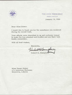 VICE PRESIDENT HUBERT H. HUMPHREY - TYPED LETTER SIGNED 01/15/1968