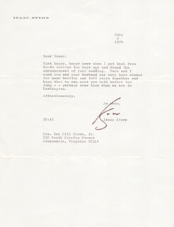 ISAAC STERN - TYPED LETTER SIGNED 07/09/1970