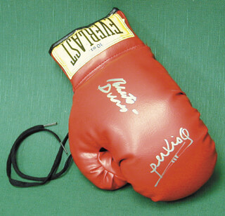 ROBERTO HANDS OF STONE DURAN - BOXING GLOVE SIGNED CO-SIGNED BY: ALEXIS ARGUELLO