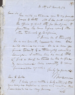 THOMAS CORWIN - AUTOGRAPH LETTER SIGNED 03/22/1852