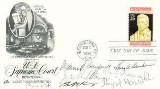 THE WILLIAM H. REHNQUIST COURT - FIRST DAY COVER SIGNED CO-SIGNED BY: ASSOCIATE JUSTICE BYRON R. WHITE, ASSOCIATE JUSTICE ANTHONY M. KENNEDY, ASSOCIATE JUSTICE WILLIAM J. BRENNAN JR., ASSOCIATE JUSTICE THURGOOD MARSHALL, CHIEF JUSTICE WILLIAM H. REHNQUIST, ASSOCIATE JUSTICE HARRY A. BLACKMUN, ASSOCIATE JUSTICE JOHN PAUL STEVENS