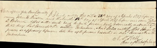 NATHAN K. HALL - AUTOGRAPH DOCUMENT SIGNED 04/28/1837