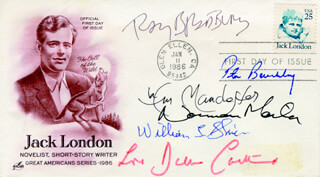 RAY BRADBURY - FIRST DAY COVER SIGNED CO-SIGNED BY: WILLIAM R. MANCHESTER, PETER BENCHLEY, BARBARA H. CARTLAND, NORMAN MAILER, WILLIAM L. SHIRER