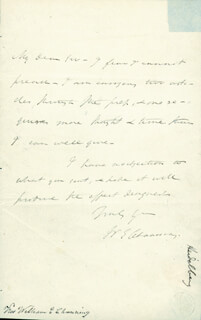 WILLIAM E. CHANNING - AUTOGRAPH LETTER SIGNED