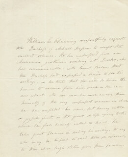 Autographs: WILLIAM E. CHANNING - THIRD PERSON AUTOGRAPH LETTER 04/11/1836