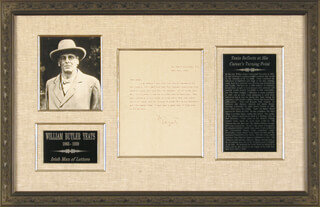 Autographs: WILLIAM BUTLER YEATS - TYPED LETTER SIGNED 06/28/1907