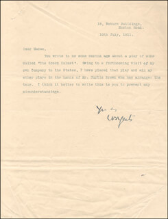 Autographs: WILLIAM BUTLER YEATS - TYPED LETTER SIGNED 07/10/1911