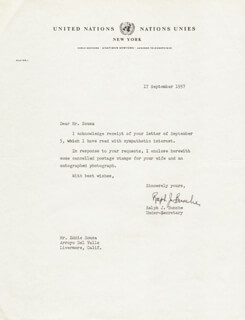 Autographs: RALPH J. BUNCHE - TYPED LETTER SIGNED 09/17/1957