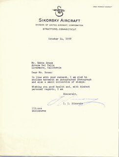 IGOR SIKORSKY - TYPED LETTER SIGNED 10/14/1959