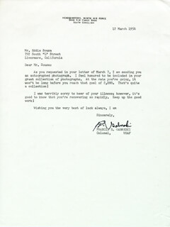 COLONEL FRANCIS S. GABBY GABRESKI - TYPED LETTER SIGNED 03/12/1956