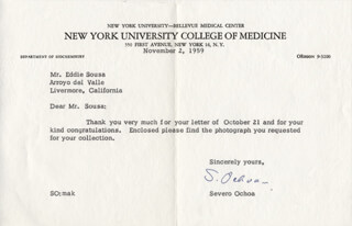 Autographs: SEVERO OCHOA - TYPED LETTER SIGNED 11/02/1959