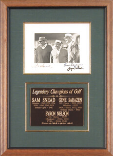 SAM SLAMMING SAMMY SNEAD - AUTOGRAPHED SIGNED PHOTOGRAPH CO-SIGNED BY: GENE SARAZEN, BYRON NELSON
