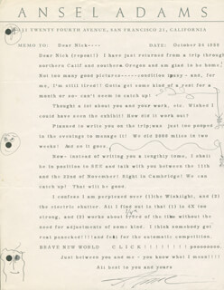 Autographs: ANSEL ADAMS - TYPED LETTER SIGNED 10/24/1959