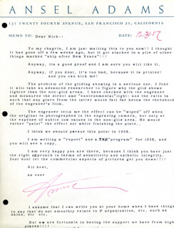 ANSEL ADAMS - ANNOTATED TYPED LETTER SIGNED 12/31/1957