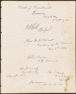 Autographs: JOHN J. CRITTENDEN - SIGNATURE(S) 02/04/1852 CO-SIGNED BY: JACOB COLLAMER, NATHAN K. HALL, JOHN PENDLETON KENNEDY, JACOB THOMPSON, BRIGADIER GENERAL CHARLES MAGILL CONRAD, THOMAS CORWIN, ALEXANDER H. H. STUART
