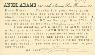 Autographs: ANSEL ADAMS - TYPED LETTER SIGNED 11/15/1957