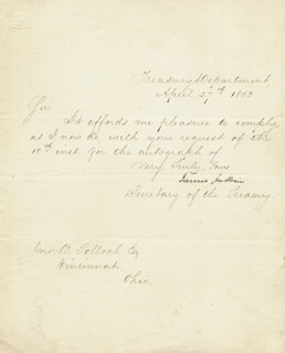 JAMES GUTHRIE - MANUSCRIPT LETTER SIGNED 04/27/1853