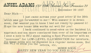 Autographs: ANSEL ADAMS - TYPED LETTER SIGNED 12/30/1957