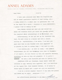 Autographs: ANSEL ADAMS - TYPED LETTER SIGNED 02/15/1971