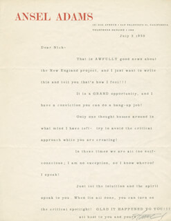 Autographs: ANSEL ADAMS - TYPED LETTER SIGNED 07/03/1959