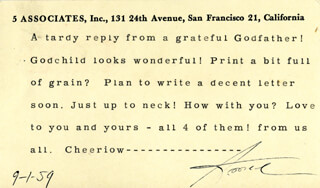 Autographs: ANSEL ADAMS - TYPED LETTER SIGNED 09/01/1959
