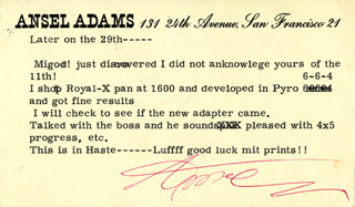 Autographs: ANSEL ADAMS - TYPED LETTER SIGNED CIRCA 1958