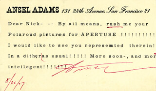 Autographs: ANSEL ADAMS - TYPED LETTER SIGNED 08/26/1957
