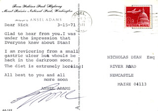 Autographs: ANSEL ADAMS - TYPED LETTER SIGNED 03/15/1971