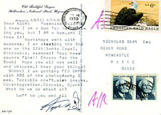 Autographs: ANSEL ADAMS - TYPED LETTER SIGNED 07/10/1970