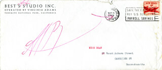 Autographs: ANSEL ADAMS - ENVELOPE SIGNED CIRCA 1958