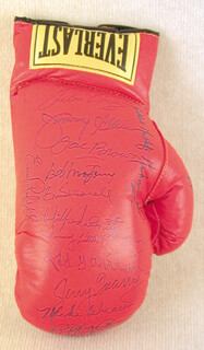JIMMY ELLIS - BOXING GLOVES SIGNED CO-SIGNED BY: MIKE WEAVER, KID GAVILAN, ERNIE TERRELL, MATTHEW SAAD MUHAMMAD, CARLOS ORTIZ, JOE CREOLE CLOUTER BROWN, BOB MONTGOMERY, CARLOS PALOMINO, DANNY LITTLE RED LOPEZ, WILFRED BENITEZ, EUSEBIO PEDROZA, JERRY QUARRY, RAY BOOM BOOM MANCINI