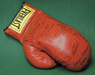 BOB THE DEPUTY SHERIFF FOSTER - BOXING GLOVE SIGNED CO-SIGNED BY: KID GAVILAN, PIPINO CUEVAS, MATTHEW SAAD MUHAMMAD, BOB MONTGOMERY, HAROLD JOHNSON, ULTIMINIO SUGAR RAMOS, RUBEN OLIVARES, JOSE MANTEQUILLA NAPOLES, EARNIE SHEVERS, JEFF JOLTIN JEFF CHANDLER, EUSEBIO PEDROZA, MIKE ROMAN