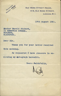 SIR MALCOLM CAMPBELL - TYPED LETTER SIGNED 08/19/1931