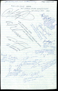 Autographs: A. J. FOYT - SIGNATURE(S) CO-SIGNED BY: RICK MEARS, STEVE MALINS, ROLLA VOLLSTEDT, DANIEL HERREGODS, WYATT STANLEY, SALT WALTHER, STEVE KRISILOFF, PEDRO NOGUES, PHIL SILVERSTONE, WALLY DALLENBACH, TERRY GRAY, JOHN BRIGHT, GARY PEPPER, PHILIPPE LAMBERT, DAN GURNEY, DAVID JACKLIN, ROB ZURRER, TIM DAVIES, ROGER WHITE, ALMO COPPELLI, AL UNSER