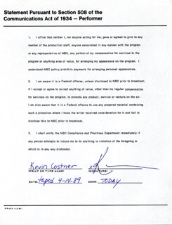 KEVIN COSTNER - DOCUMENT SIGNED 04/14/1989