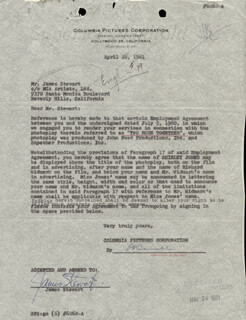 JAMES JIMMY STEWART - CONTRACT SIGNED 04/26/1961