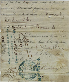 Autographs: PRESIDENT JAMES BUCHANAN - PRINTED DOCUMENT FRAGMENT SIGNED IN INK 07/08/1854