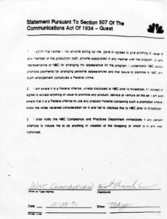 WILT THE STILT CHAMBERLAIN - PRINTED DOCUMENT SIGNED IN INK 10/28/1991