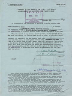 JAMES MASON - DOCUMENT SIGNED 02/15/1957 CO-SIGNED BY: PAMELA MASON