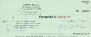 ZEPPO (HERBERT) MARX - AUTOGRAPHED SIGNED CHECK 12/31/1970