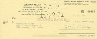 ZEPPO (HERBERT) MARX - AUTOGRAPHED SIGNED CHECK 10/01/1971