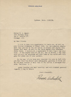 Autographs: ROSCOE FATTY ARBUCKLE - TYPED LETTER SIGNED 09/25/1924