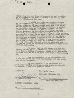 GARY COOPER - DOCUMENT SIGNED 07/31/1947