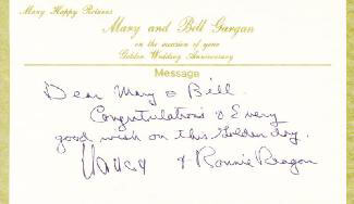 Autographs: PRESIDENT RONALD REAGAN - AUTOGRAPH NOTE SIGNED CO-SIGNED BY: FIRST LADY NANCY DAVIS REAGAN