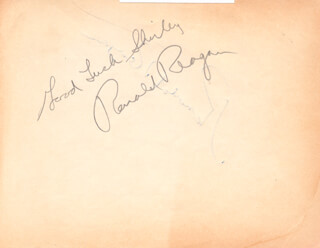 PRESIDENT RONALD REAGAN - AUTOGRAPH NOTE DOUBLE SIGNED