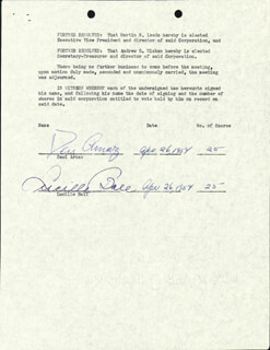LUCILLE LUCY BALL - CORPORATE MINUTES SIGNED 04/26/1954 CO-SIGNED BY: DESI ARNAZ SR.
