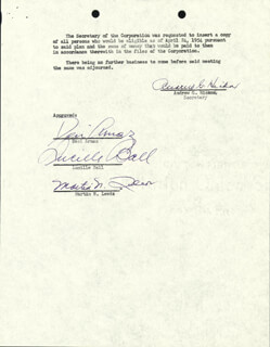 LUCILLE LUCY BALL - CORPORATE MINUTES SIGNED 03/01/1954 CO-SIGNED BY: MARTIN N. LEEDS, ANDREW G. HICKOX, DESI ARNAZ SR.
