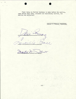 LUCILLE LUCY BALL - CORPORATE MINUTES SIGNED 03/30/1954 CO-SIGNED BY: MARTIN N. LEEDS, DESI ARNAZ SR.
