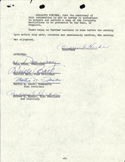 LUCILLE LUCY BALL - CORPORATE MINUTES SIGNED 07/31/1956 CO-SIGNED BY: MARTIN N. LEEDS, ANDREW G. HICKOX, DESI ARNAZ SR.